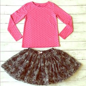 H&M Pink Star Shirt and Tulle Bunny Skirt Set